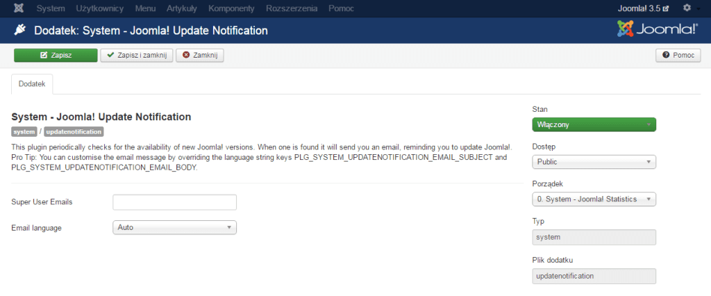 Dodatek System - Joomla! Update Notification