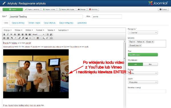 Wygląd edytowanego artykułu po wklejeniu kodu wideo i naciśnięciu klawisza ENTER