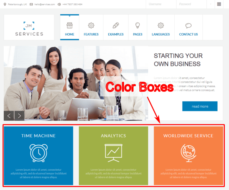 Moduły Color Box w szablonie JM-Services