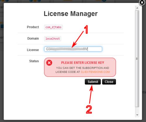 Licence manager w komponencie DJ-Tabs