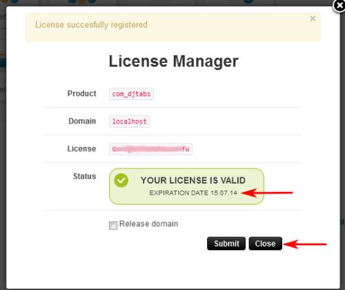 Licence Manager w komponencie DJ-Tabs - po wprowadzeniu kodu licencji
