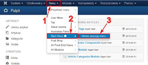 Tworzenie nowej pozycji menu