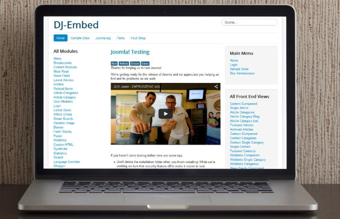 Jak umieścić video w Joomla! - DJ-Embed Light
