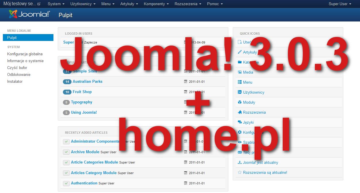 Instalacja Joomla! 3.0.3 na home.pl